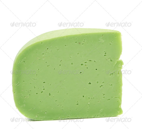 Piece of cheese wasabi. Close up. - Stock Photo - Images
