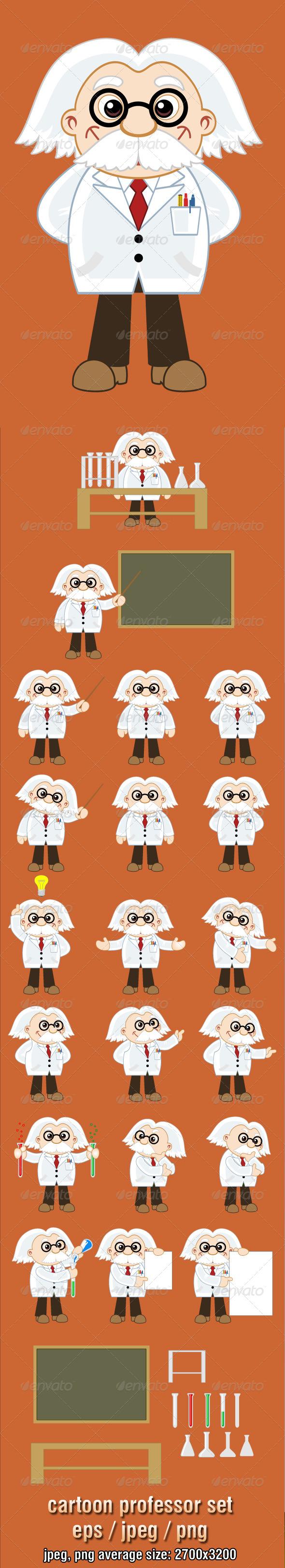 Professor Cartoon Character Set - Characters Vectors
