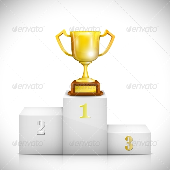 Winner Pedestal with Gold Trophy Cup - Concepts Business