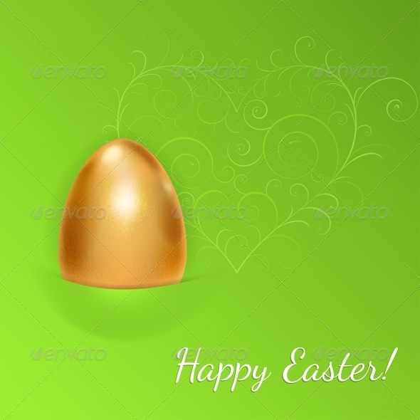 Easter Background with Golden Egg - Miscellaneous Seasons/Holidays