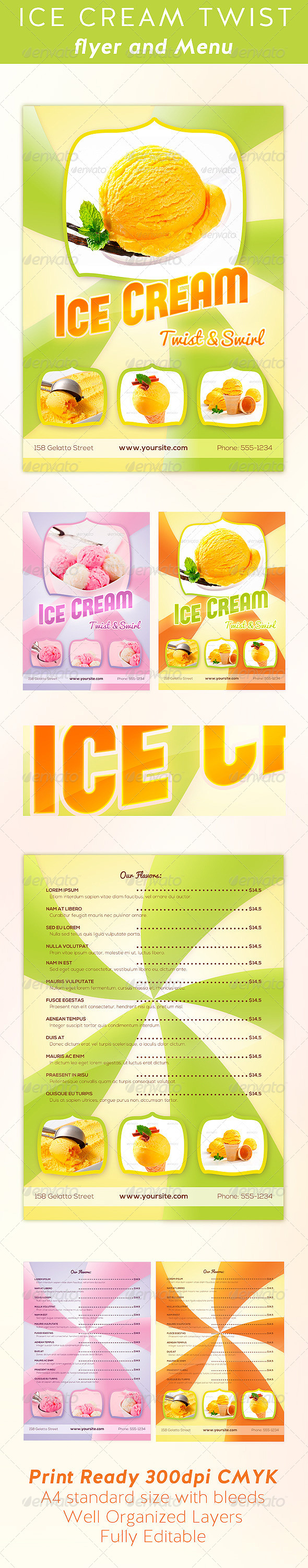 Ice Cream Twist Flyer and Menu Template - Flyers Print Templates