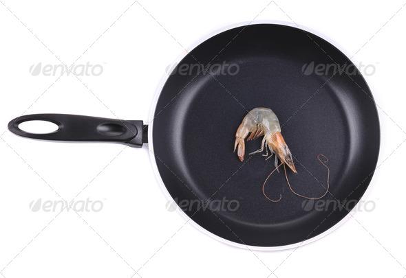 Freshwater prawn on frying pan. - Stock Photo - Images