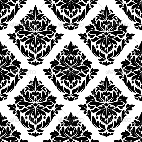 Large Bold Floral and Foliate Seamless Motif - Patterns Decorative