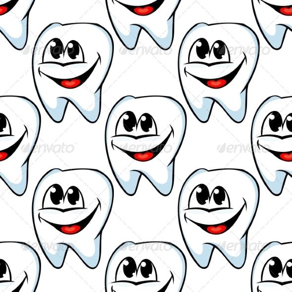 Repeat Pattern of Happy Healthy Teeth - Health/Medicine Conceptual