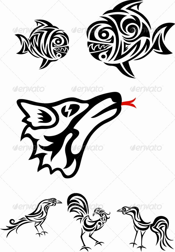 Wolf, Fish and Roosters - Animals Characters