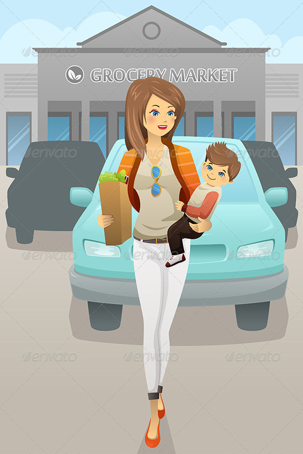 Mother Carrying her Son and Grocery Bags - Commercial / Shopping Conceptual