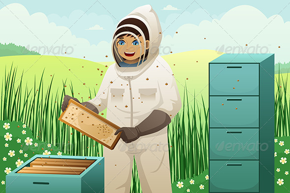 Beekeepers with Honey Comb - People Characters