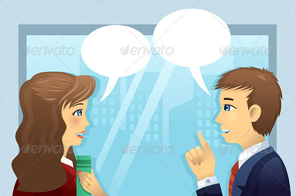 People in the Office with Bubble Speech - Business Conceptual