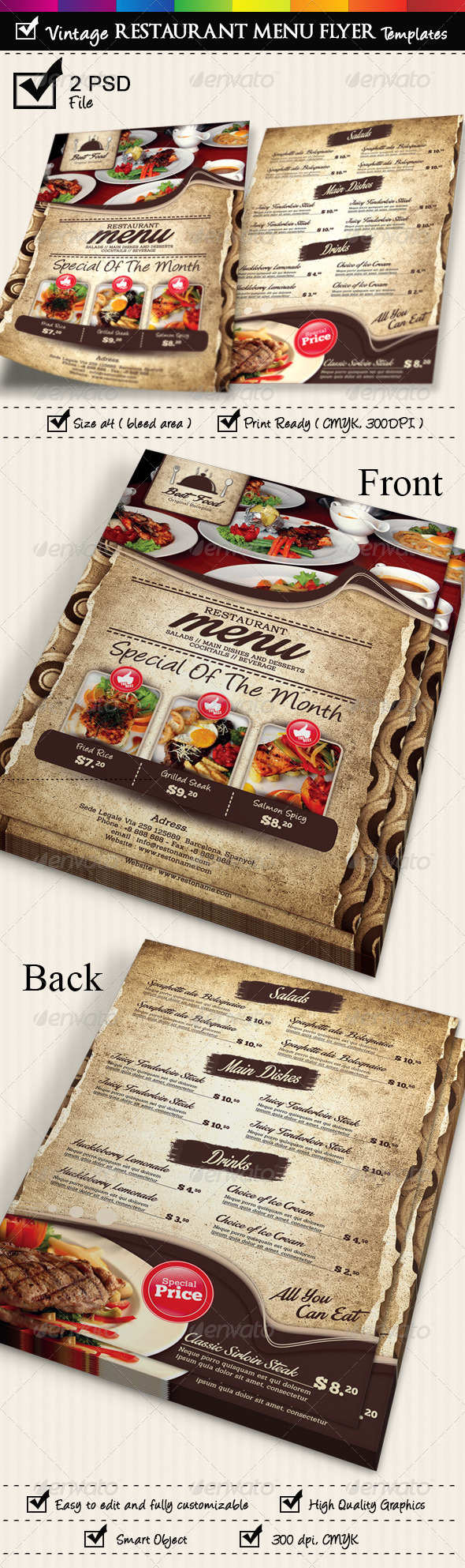 Restaurant Menu Flyer Templates Vintage Texture - Restaurant Flyers