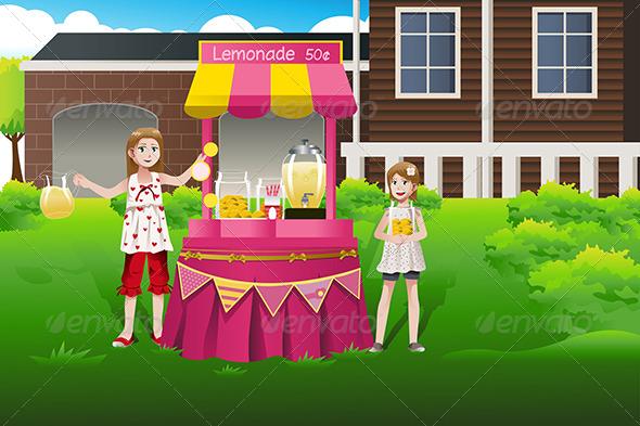 Kids Selling Lemonade - People Characters