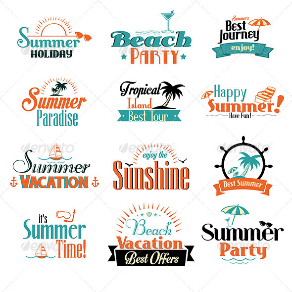 Retro Summer Badges - Travel Conceptual