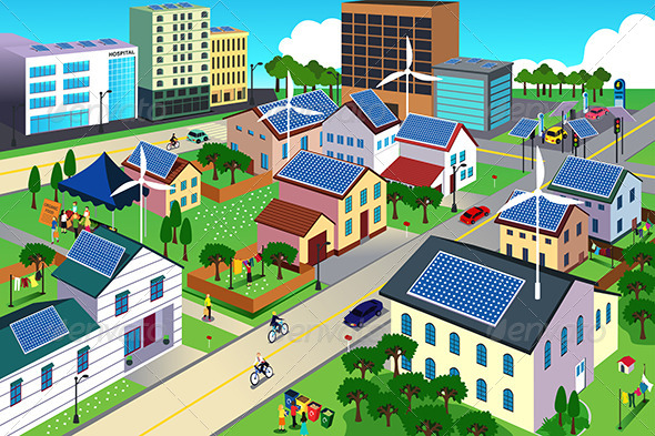 Green Environment Friendly City Scene - Conceptual Vectors