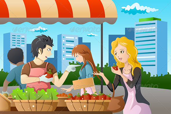 People Shopping in Farmers Market - Commercial / Shopping Conceptual