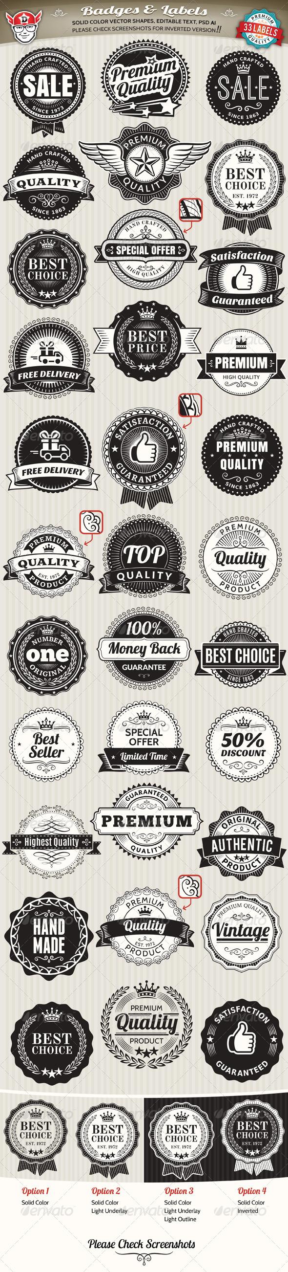 33 Vintage Labels and Badges - Badges & Stickers Web Elements