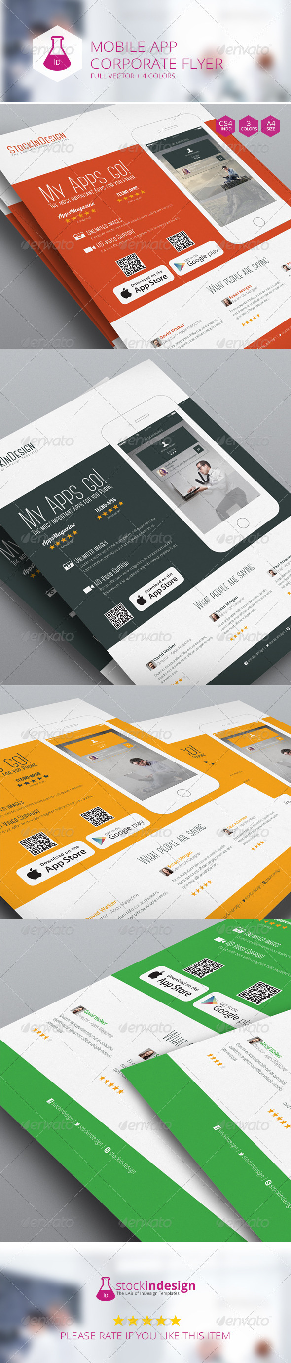 Mobile App Flyer - Flat Design - Corporate Flyers