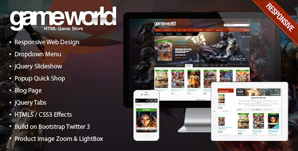 Responsive HTML Theme – GameWorld