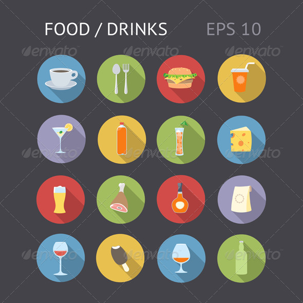 Flat Icons For Food and Drinks - Food Objects