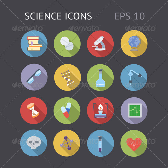 Flat Icons For Science - Technology Icons