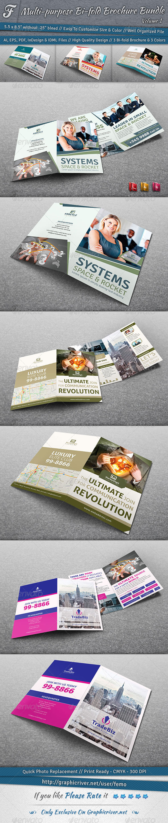 Multi-purpose Bi-fold Brochure Bundle | Volume 1 - Corporate Brochures