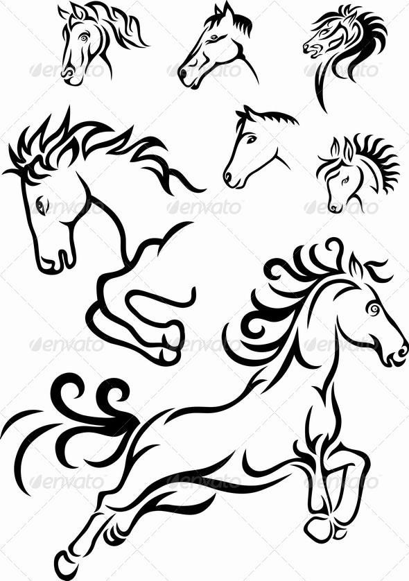 Horse Tribal - Decorative Symbols Decorative