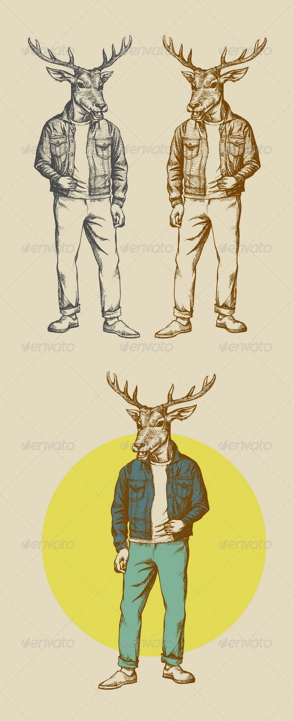 Vintage Deer Illustration - People Characters