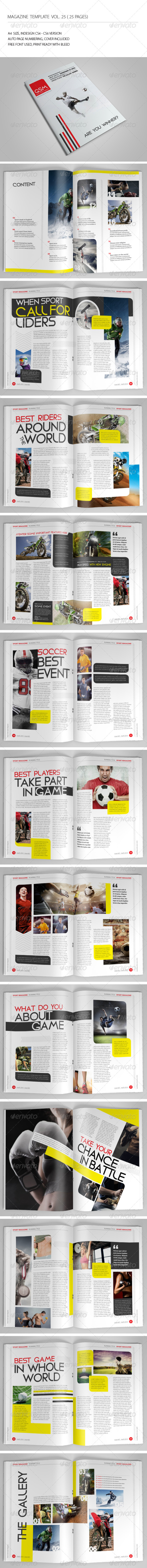 25 Pages Sport Magazine Vol25 - Magazines Print Templates
