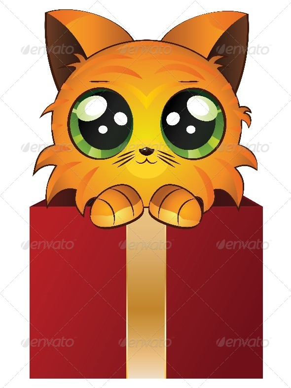 Red Kitten in a Box - Animals Characters