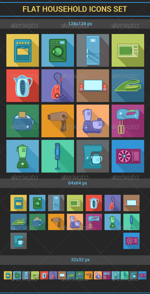 Flat Household Icons Set - Man-made objects Objects