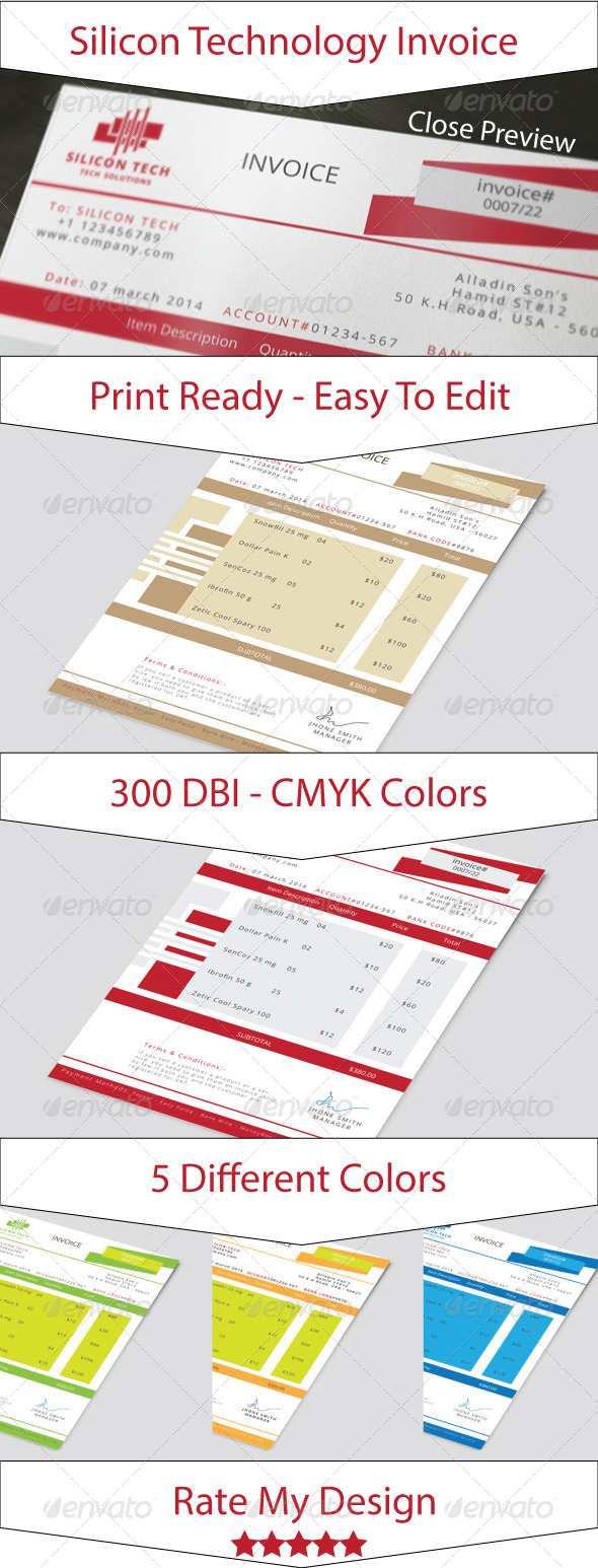Silicon Technology Business Invoice - Proposals & Invoices Stationery