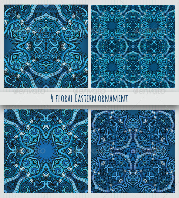 4 Floral Eastern Style Ornaments - Decorative Vectors