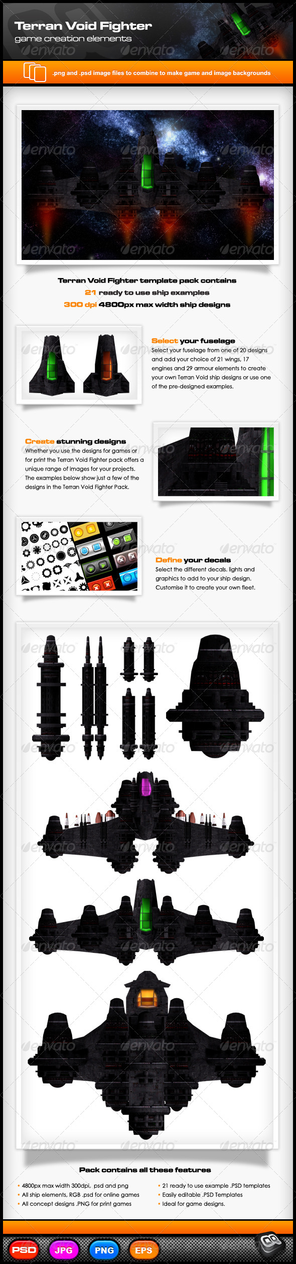 Terran Void Fighter Template Pack  - Objects Illustrations