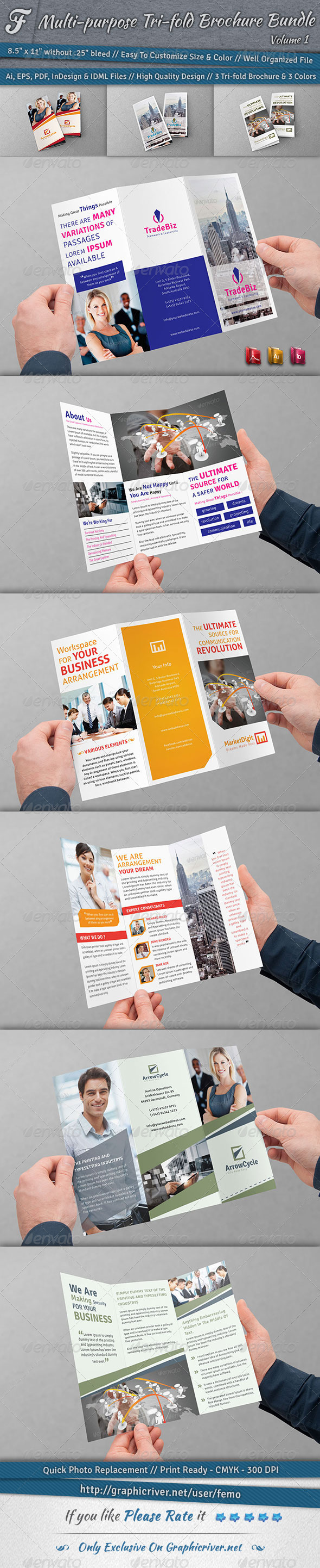Multi-purpose Tri-fold Brochure Bundle | Volume 1 - Corporate Brochures