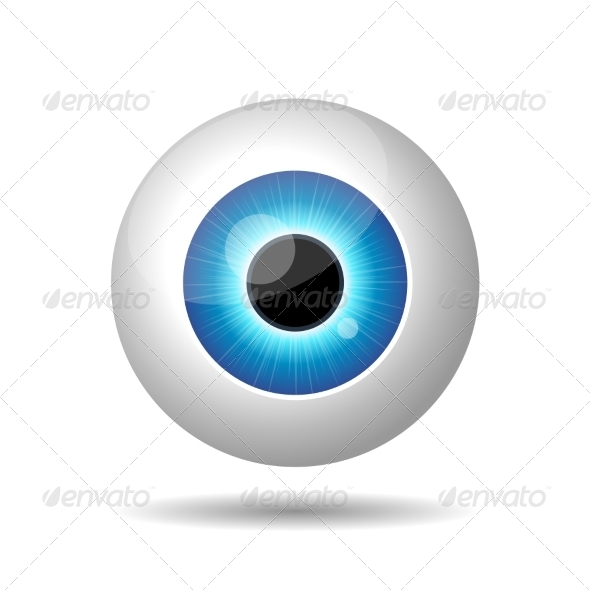 Blue Eye on White Background - People Characters