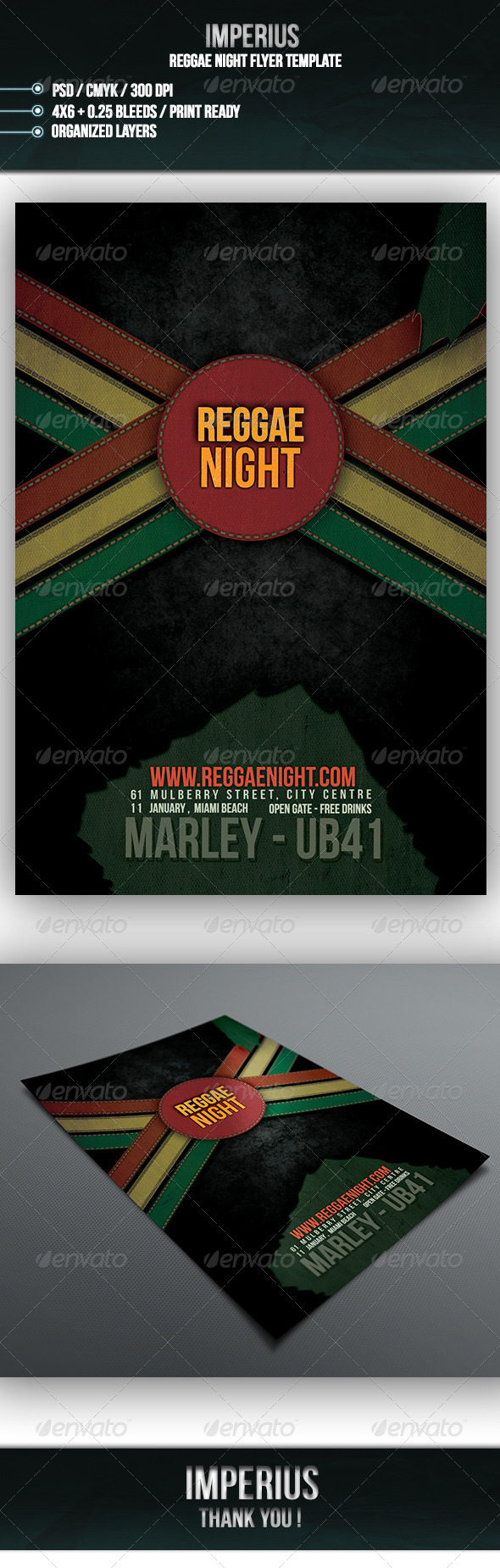 Reggae Night Flyer - Flyers Print Templates