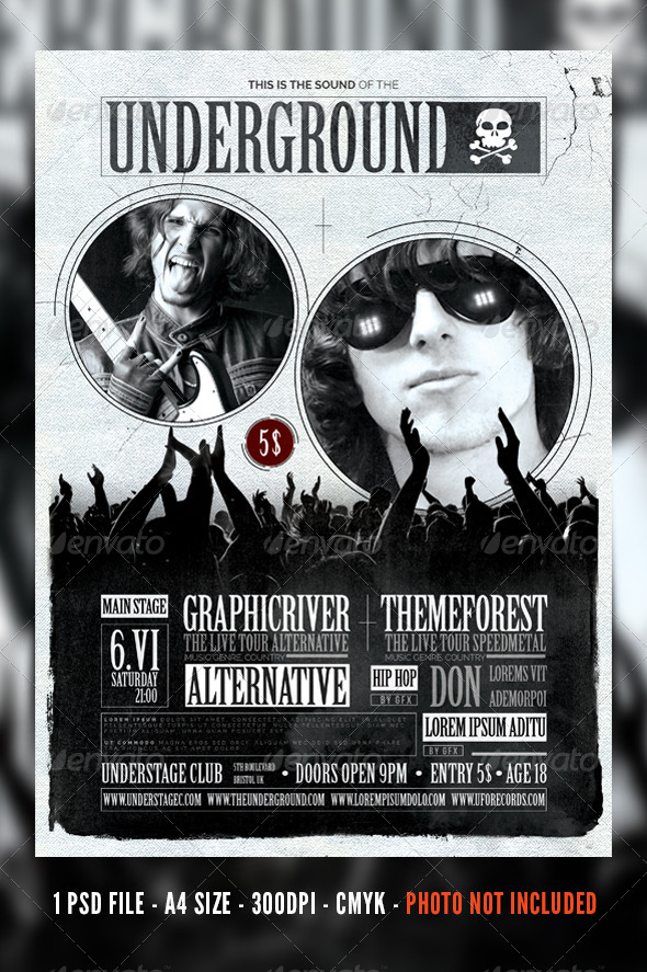 Vintage Rock Concert / Festival Flyer / Poster - Concerts Events