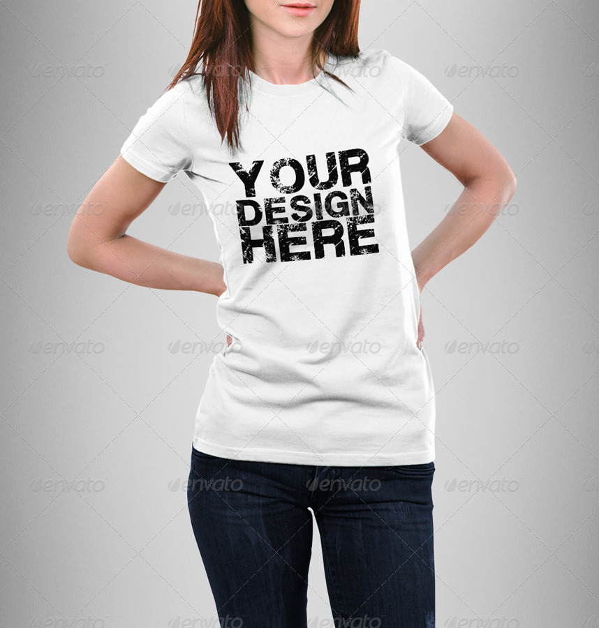 Female T-Shirt Mock-Up by Eugene-design   GraphicRiver