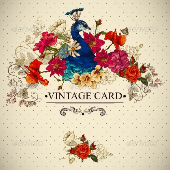 Floral Vintage Card with Peacock  - Patterns Decorative