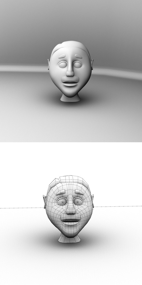 Cartoon Head Base Mesh - 3DOcean Item for Sale
