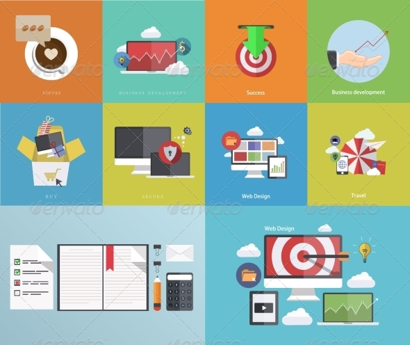 Flat Modern Icons on Sample Background - Backgrounds Business