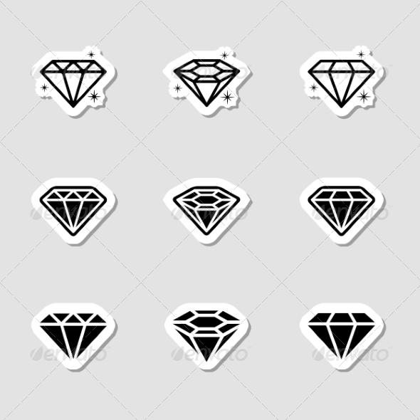Diamond Icons Set as Labes - Icons