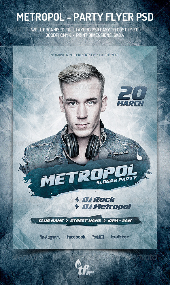 Metropol - Party Flyer PSD Template - Clubs & Parties Events