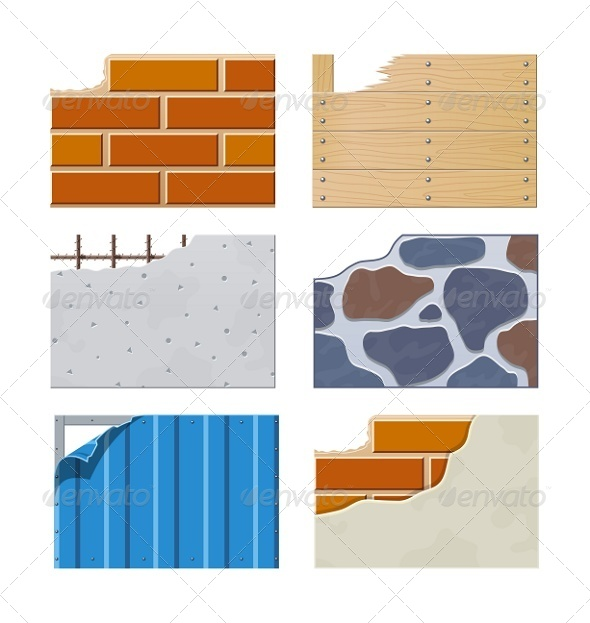 Wall Set of Building Icons - Industries Business
