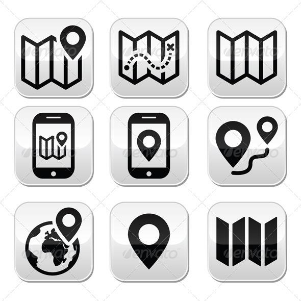 Map Travel Buttons Set - Technology Conceptual