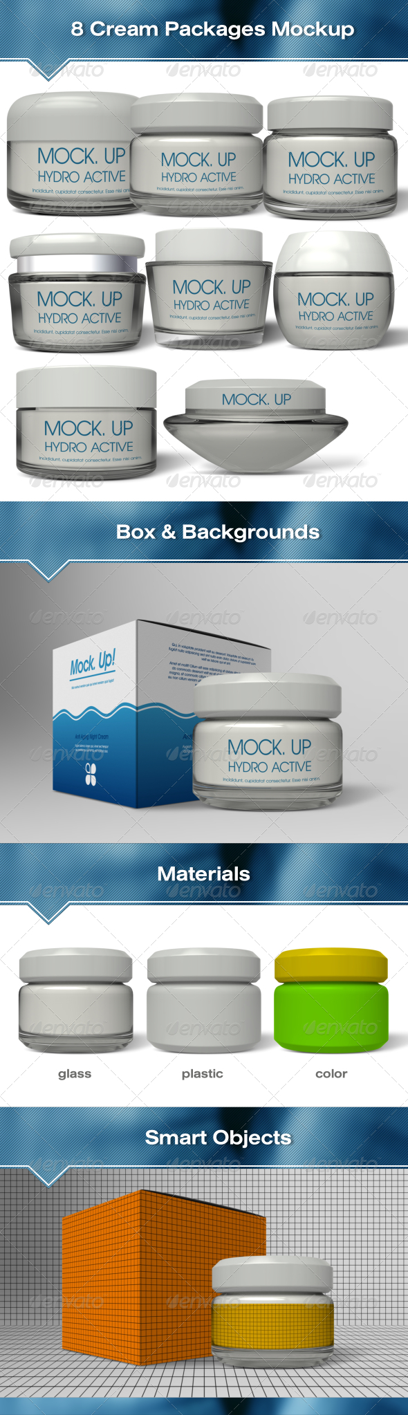8 Glass & Plastic Cream Packages Mockup - Beauty Packaging