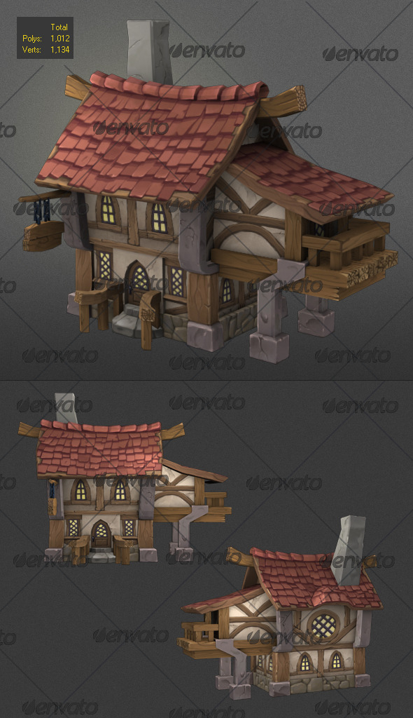 low poly wood house 2 - 3DOcean Item for Sale