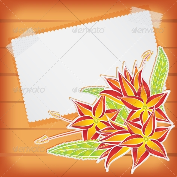 Greeting Card with Scotch Tape and Flowers - Backgrounds Decorative