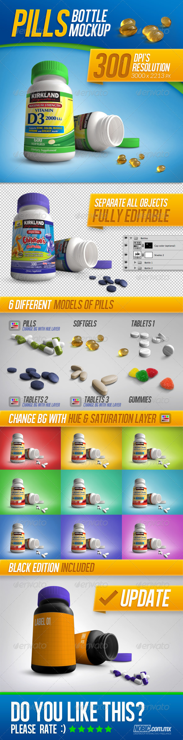 Tablets, Vitamins and Pills Bottle Mockup - Miscellaneous Packaging