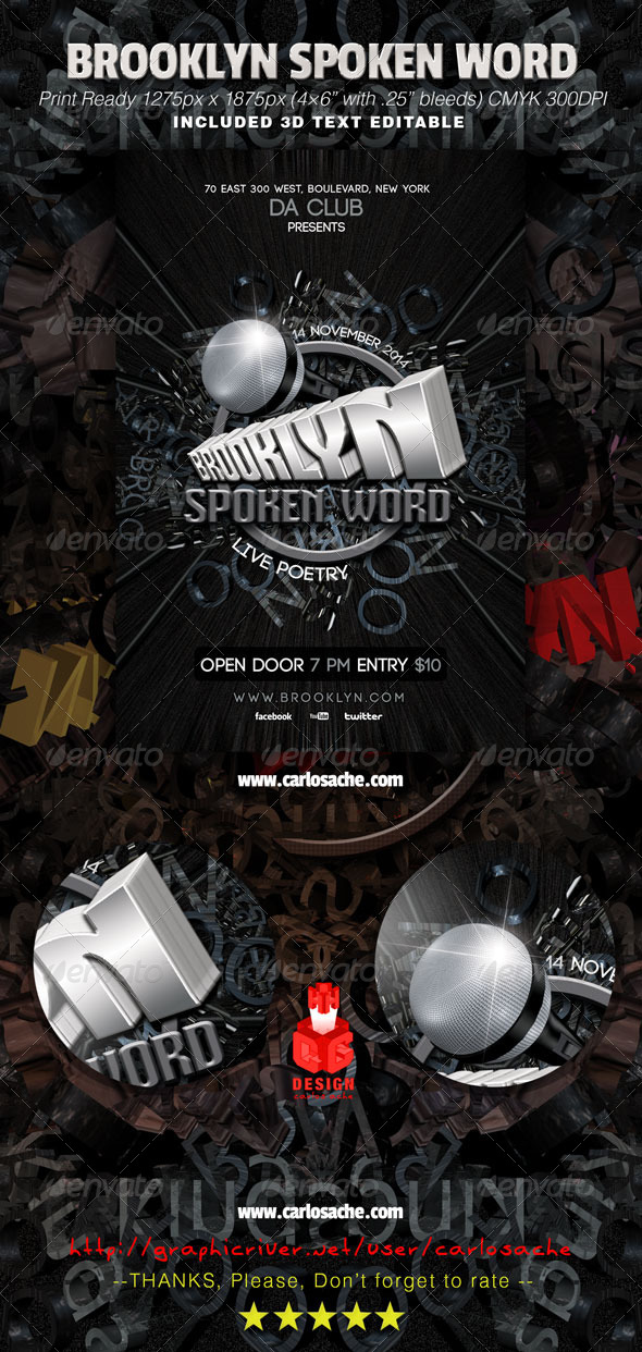 Brooklyn Spoken Word Flyer - Clubs & Parties Events
