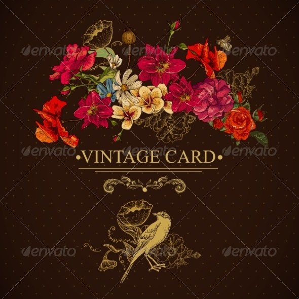 Vintage Floral Card with Birds and Butterflies - Patterns Decorative