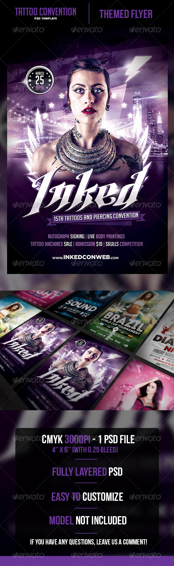 Tattoo Convention Flyer Template - Clubs & Parties Events